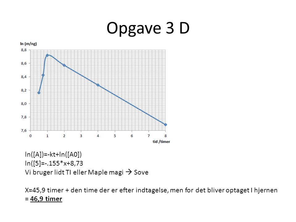 Opgave 3 D ln([A])=-kt+ln([A0]) ln([5]=-.155*x+8,73